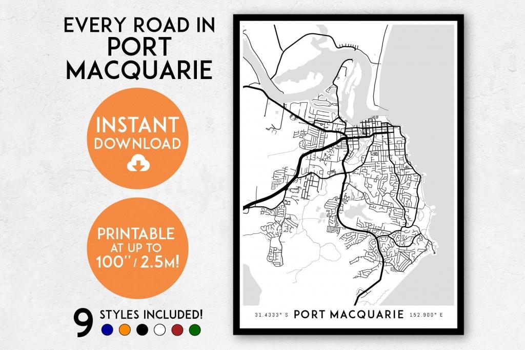 Port Macquarie Map Print, Printable Port Macquarie Map Art, Nsw Map,  Australia Map Print, Port Macquarie Print, Port Macquarie Poster - Printable Street Map Of Port Macquarie