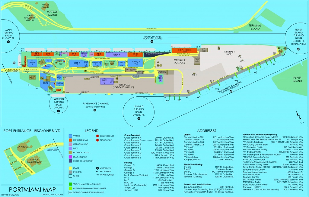 Portmiami - Cruise Terminals - Miami-Dade County - Map Of Carnival Cruise Ports In Florida