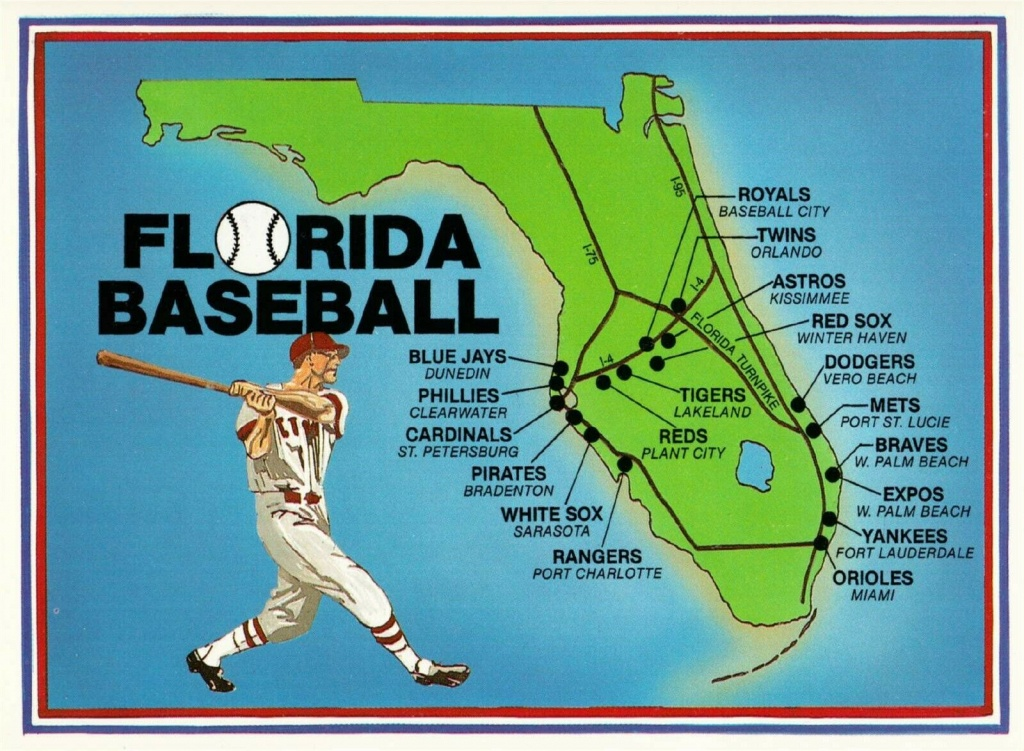 Postcard Of Florida Spring Training Baseball Stadium Map / Hippostcard - Florida Spring Training Map
