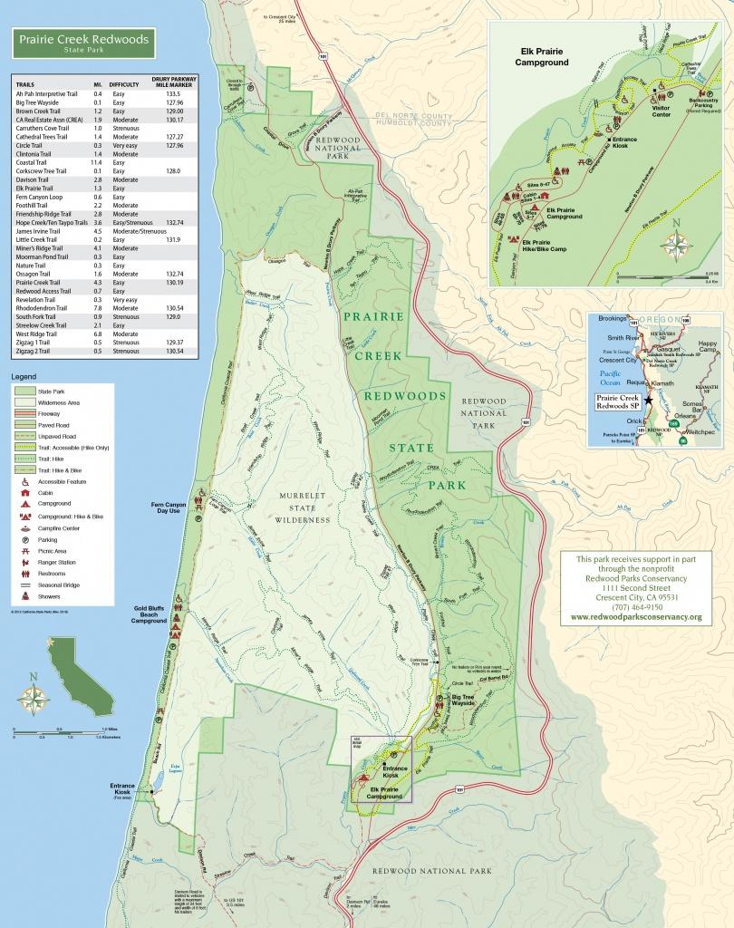 Prairie Creek Trails | Redwood Parks Conservancy - California Redwood Parks Map