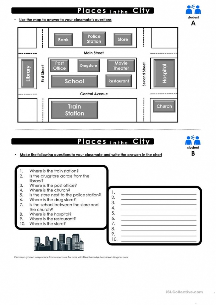 Prepositions Of Place Map Practice Worksheet - Free Esl Printable - Printable Map Activities