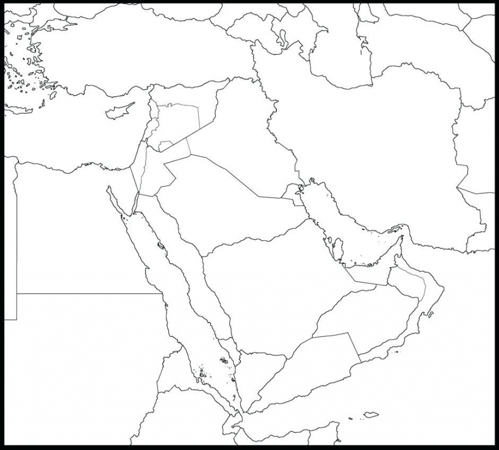 Printable Blank Map Of Middle East Maps The Black And White Big 10 - Printable Map Of Middle East