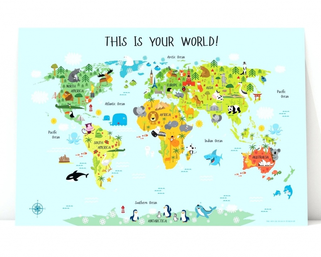 Printable Map Of Asia World For Kids Instant Download Nursery Decor - Printable World Map For Kids