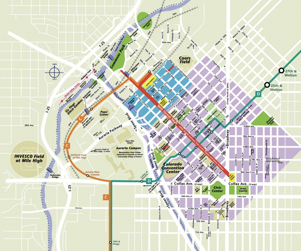 Printable Map Of Denver And Travel Information | Download Free - Denver City Map Printable