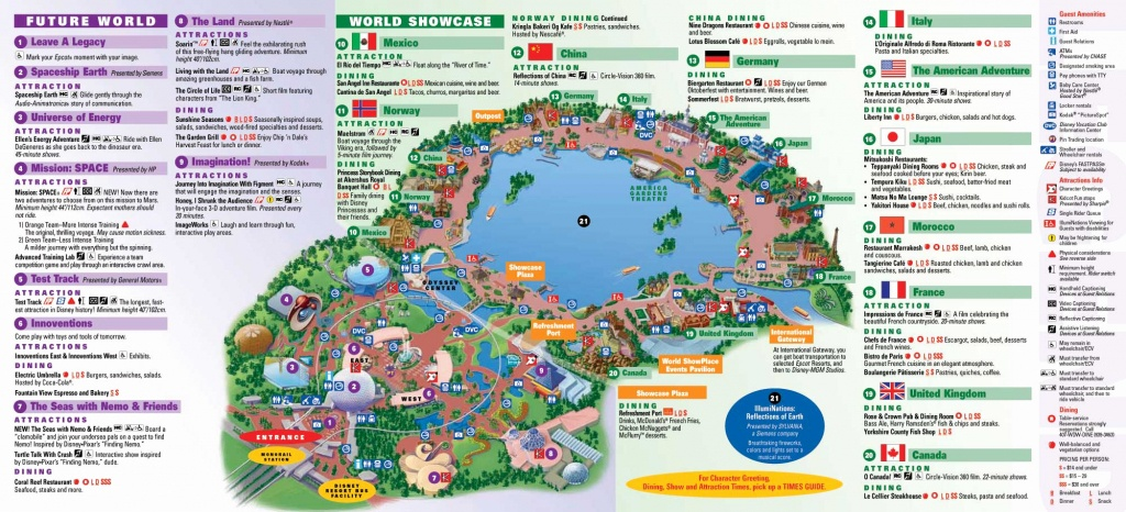 Printable Map Of Disney World For Epcot Center Epcot Theme Park - Printable Epcot Map 2017