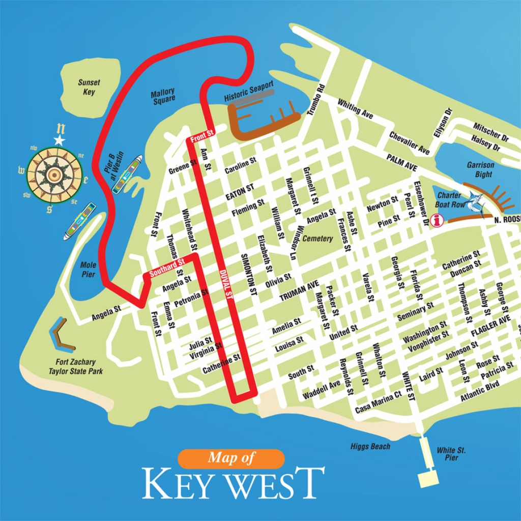 Printable Map Of Key West Florida Streets Hotels Area Attractions Pdf - Map Of Key West Florida Attractions