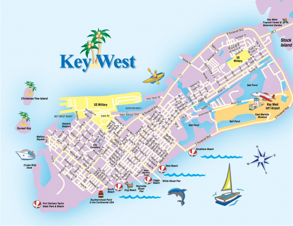 Printable Map Of Key West Florida Streets Hotels Area Attractions Pdf - Street Map Of Key West Florida