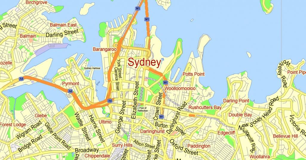 Printable Map Sydney, Australia, City Plan 2000 M Scale Adobe Illustrator - Printable Street Map Of Port Macquarie
