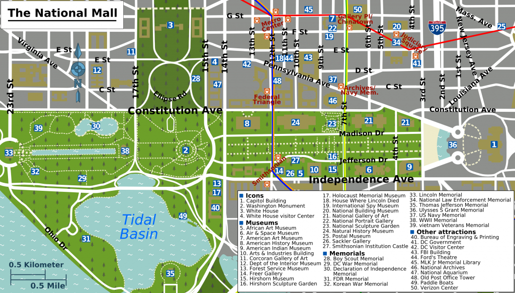 Printable Map Washington Dc | National Mall Map - Washington Dc - Printable Map Of Dc