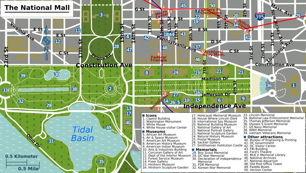 Printable Map Washington Dc | National Mall Map - Washington Dc - Printable Map Of Washington Dc Sites