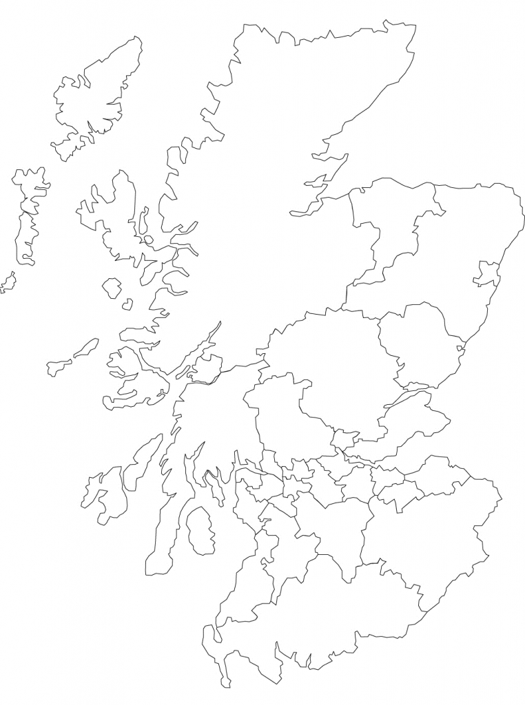 Printable Outline Map Of Scotland And Its Districts. | The Story Of - Blank Map Of Scotland Printable