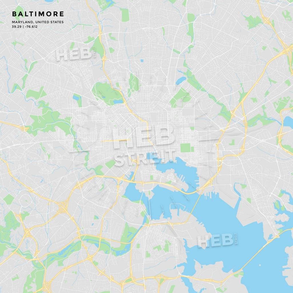 Printable Street Map Of Baltimore, Maryland | Hebstreits Sketches - Printable Map Of Baltimore
