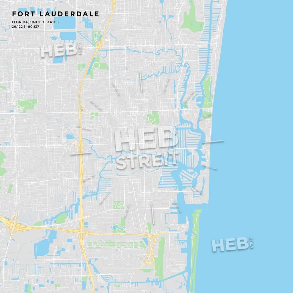 Printable Street Map Of Fort Lauderdale, Florida | Maps Vector - Street Map Of Fort Lauderdale Florida