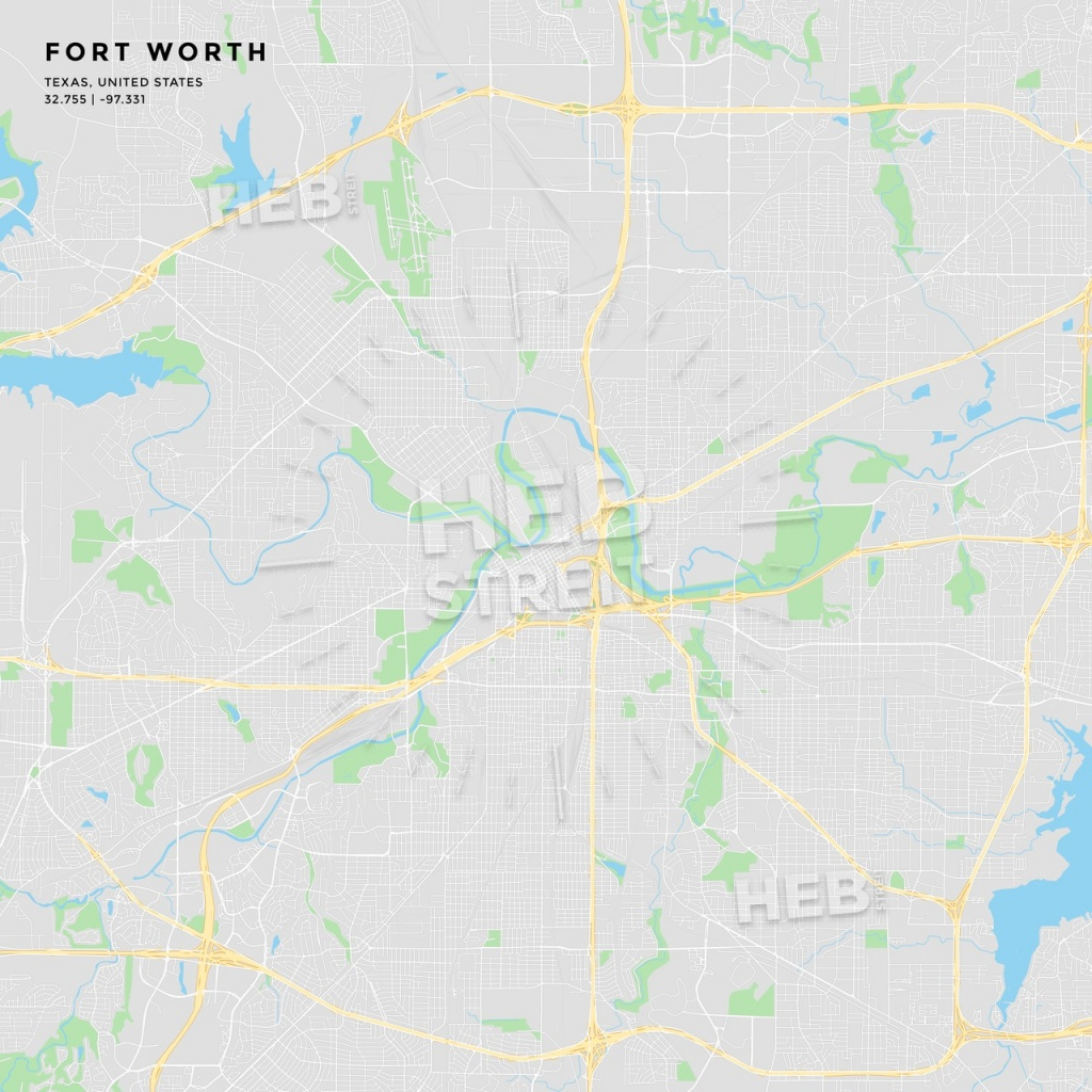 Printable Street Map Of Fort Worth, Texas - Street Map Of Fort Worth Texas