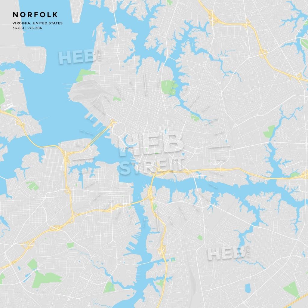 Printable Street Map Of Norfolk, Virginia | Hebstreits Sketches - Printable Map Of Norfolk Va