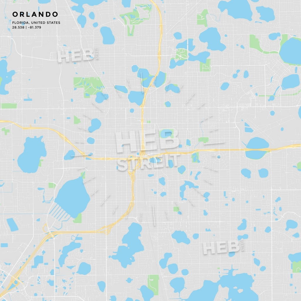 Printable Street Map Of Orlando, Florida | Hebstreits Sketches - Printable Map Of Orlando
