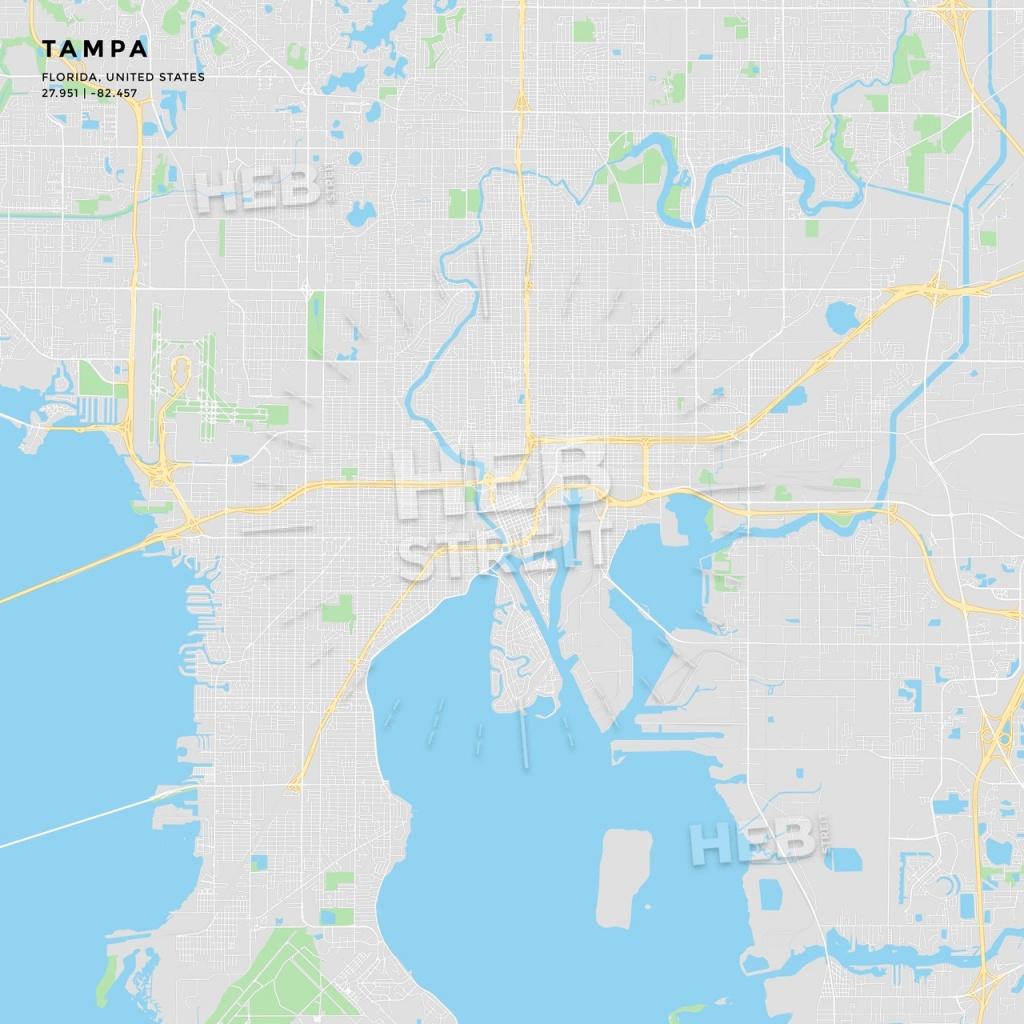 Printable Street Map Of Tampa, Florida | Hebstreits Sketches - Street Map Of Tampa Florida