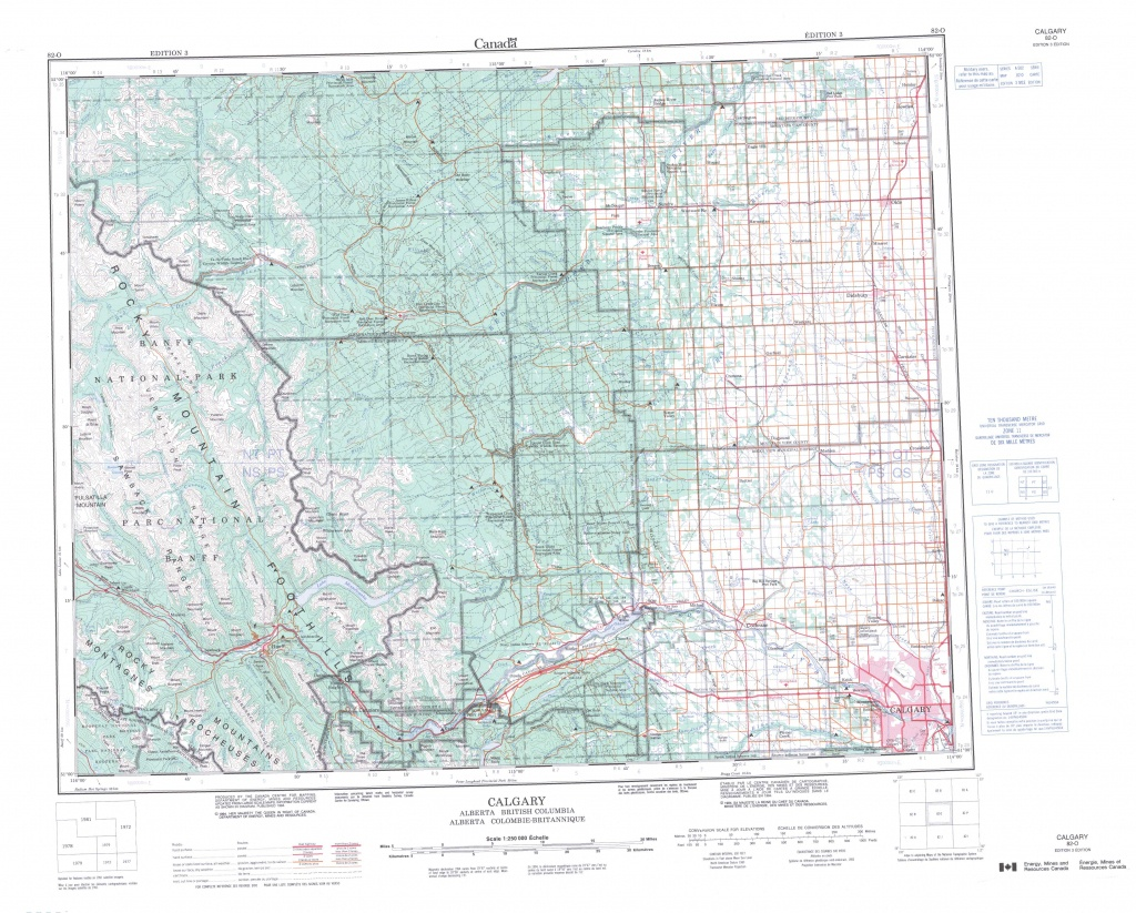Printable Topographic Map Of Calgary 082O, Ab - Free Printable Map Of Alberta