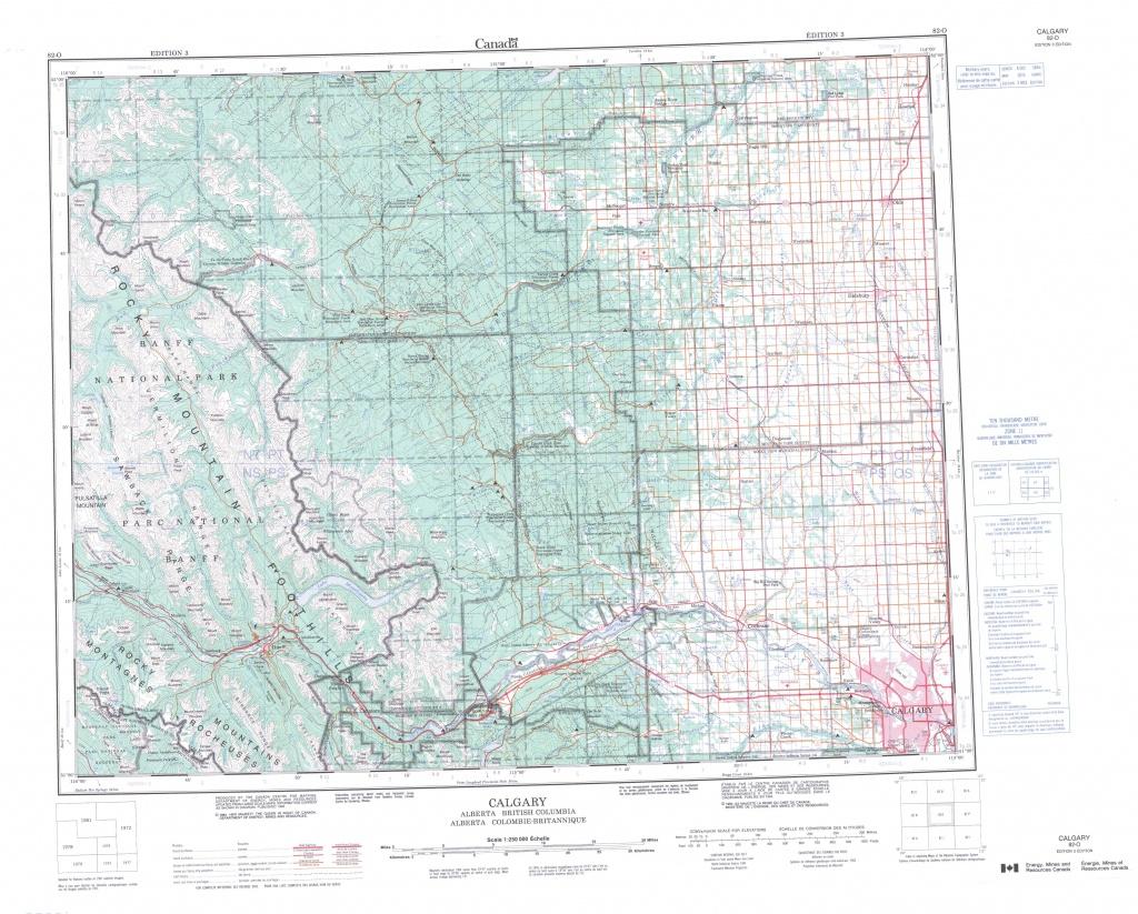 Printable Topographic Map Of Calgary 082O, Ab - Printable Map Of Calgary