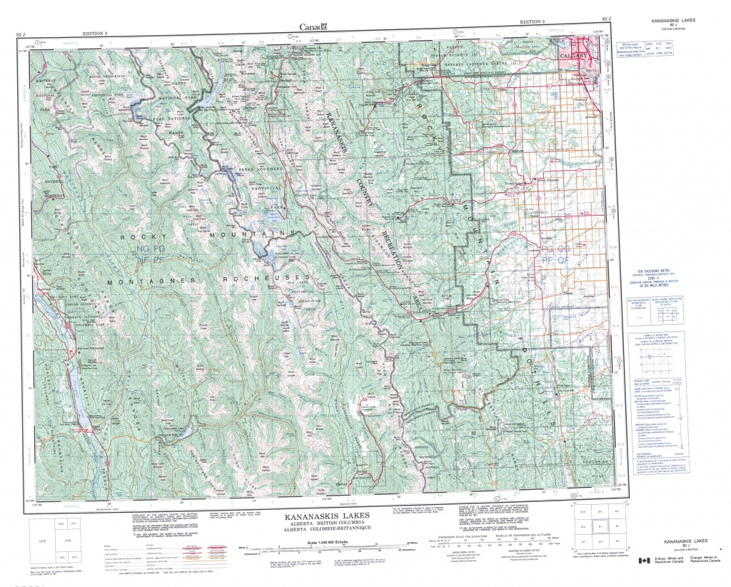 Printable Topographic Map Of Kananaskis Lakes 082J, Ab - Free Printable Topo Maps