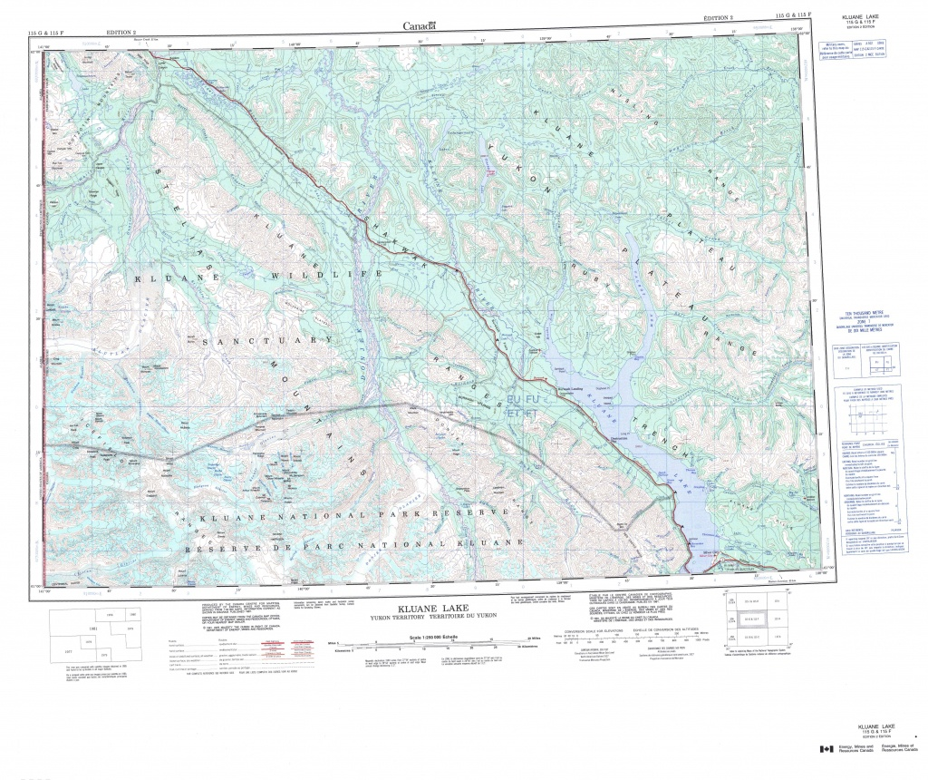 Printable Topographic Map Of Kluane Lake 115G, Yk - Free Printable Topo Maps Online