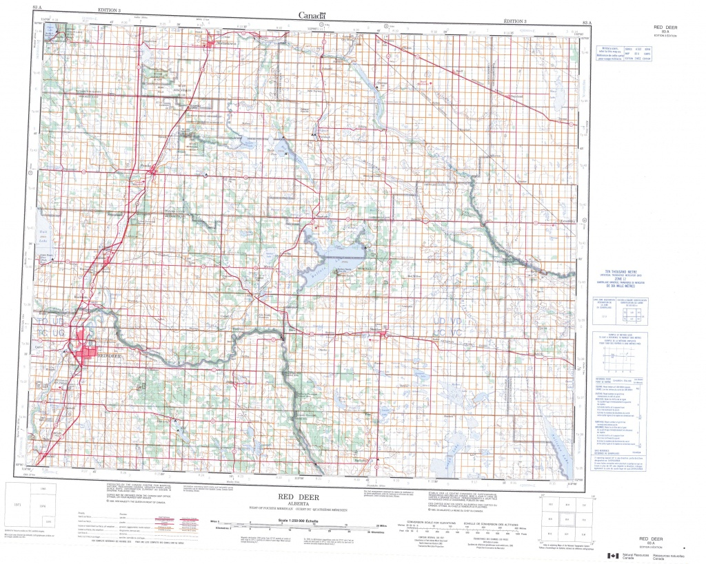 Printable Topographic Map Of Red Deer 083A, Ab - Printable Red Deer Map