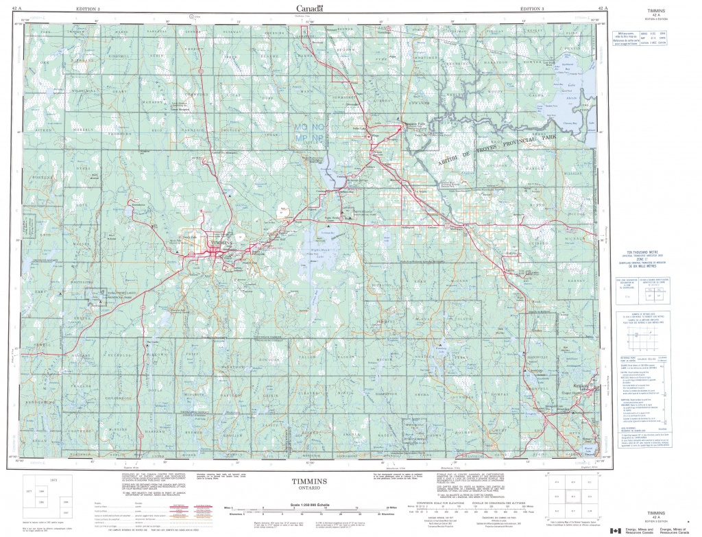 Printable Topographic Map Of Timmins 042A, On - Printable Topographic Maps Free