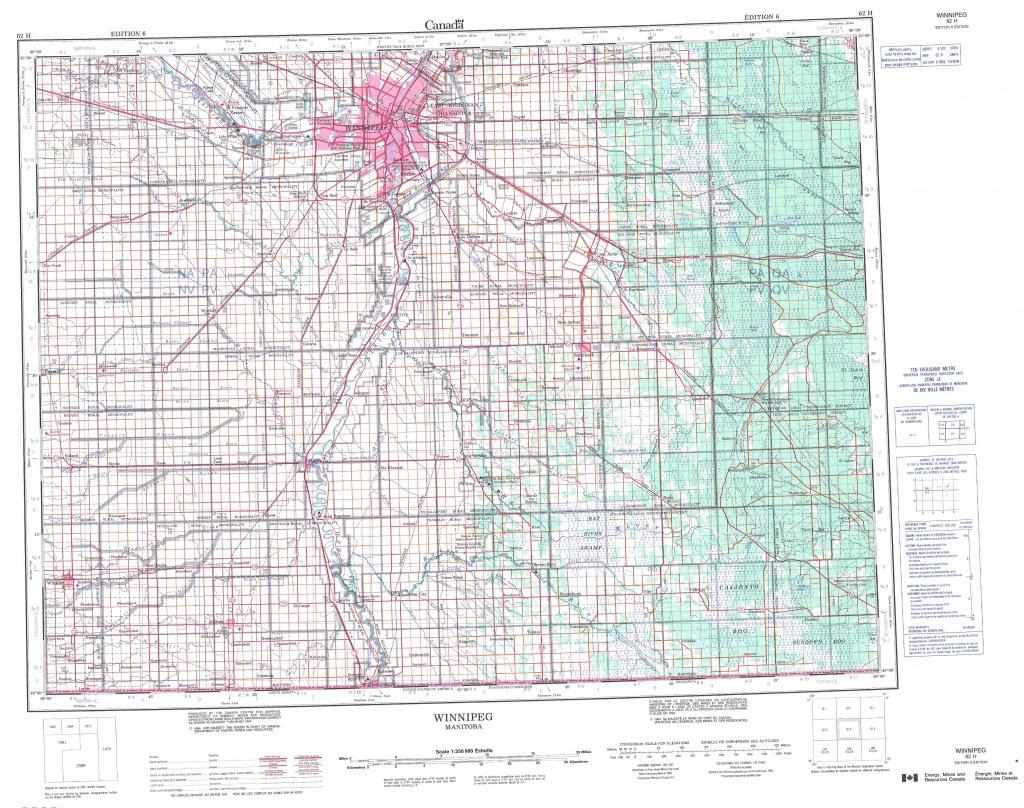 Printable Topographic Map Of Winnipeg 062H, Mb - Topographic Map Printable