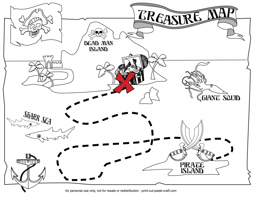 Printable Treasure Map | Print, Cut, Paste, Craft! - Printable Neverland Map