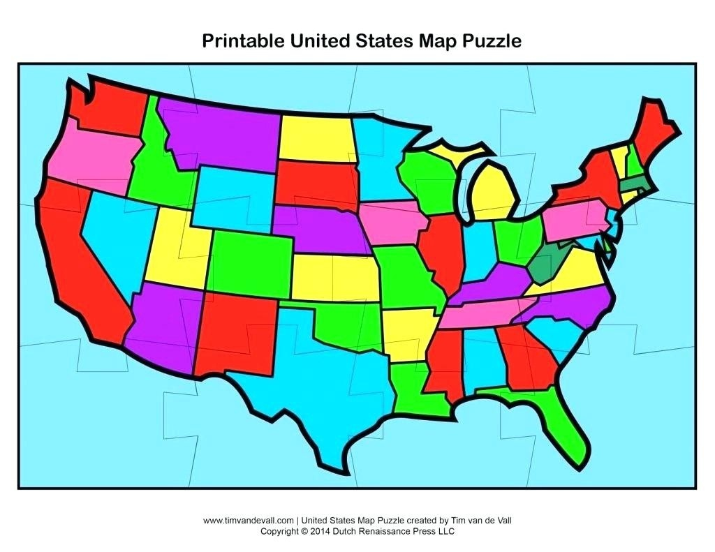 Printable Us State Map Puzzle | World Map - United States Map Puzzle Printable