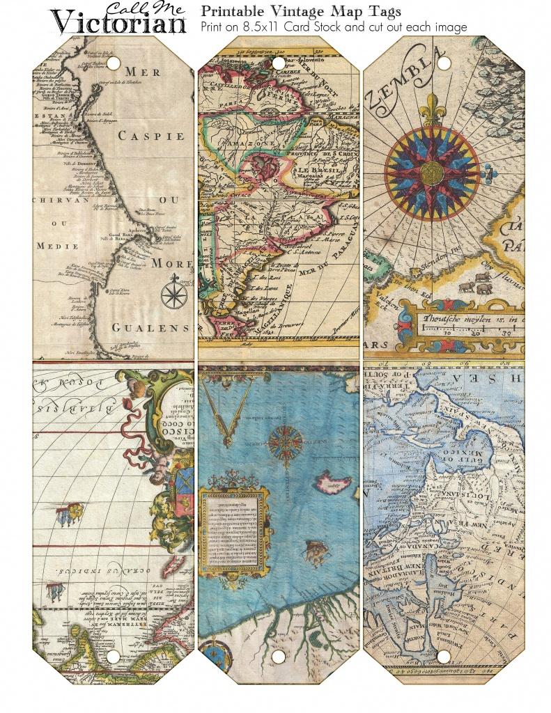 Printable Vintage Map Tags | Call Me Victorian - Free Printable Vintage Maps
