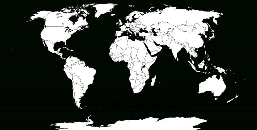 Printable White-Transparent Political Blank World Map C3 | Free - Free Printable World Map