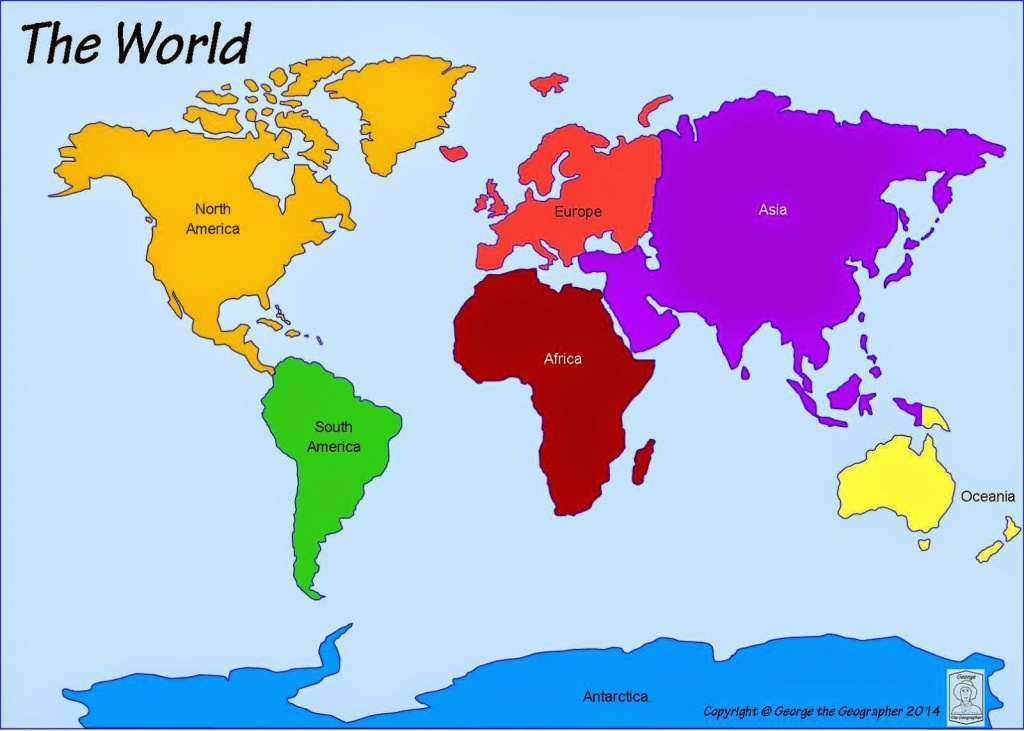 Printable+World+Map+7+Continents | Computer Lab | World Map - Seven Continents Map Printable