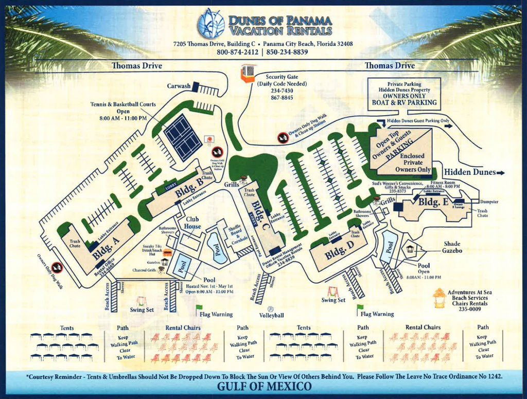 Property Map For Vacation Beach Condos | Dunes Of Panama - Map Of Panama City Beach Florida Condos