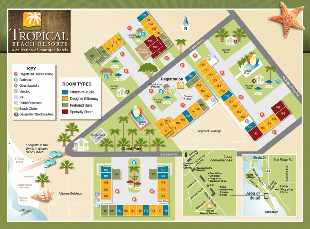 Property Map - Tropical Beach Resorts, Siesta Key Fl - Map Of Florida Beach Resorts