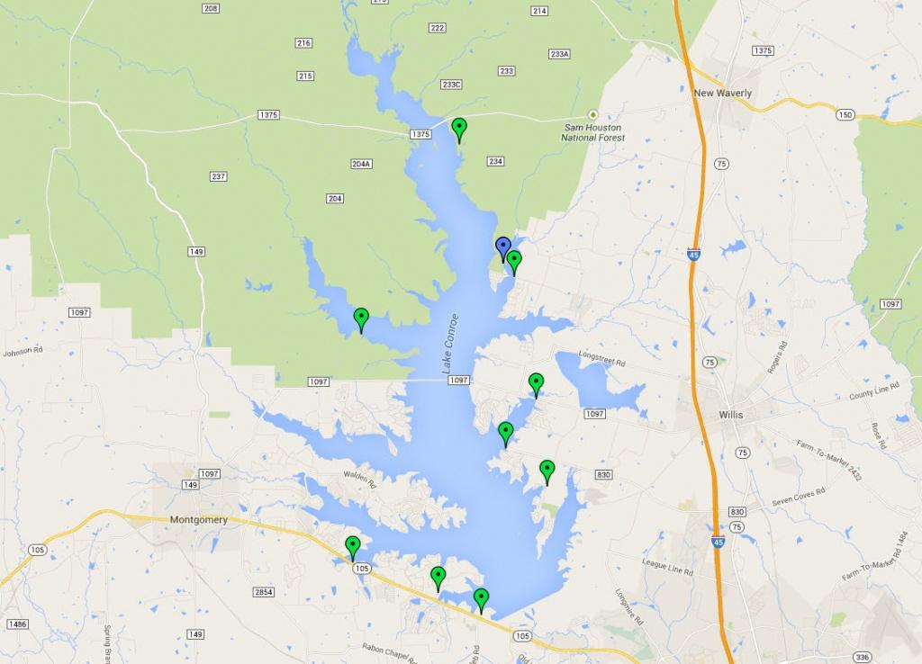 Public Boat Ramps On Lake Conroe - San Jacinto River Authority - Map Of Lake Conroe Texas