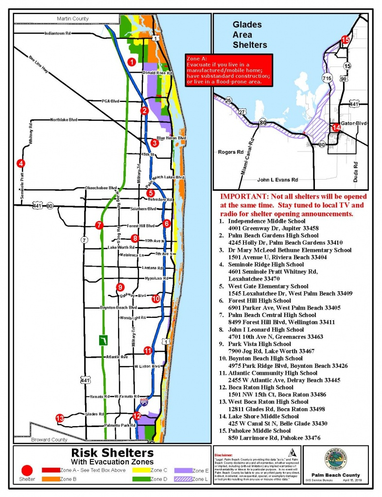 Public Safety - Emergency Management Shelters - Map Of Palm Beach County Florida