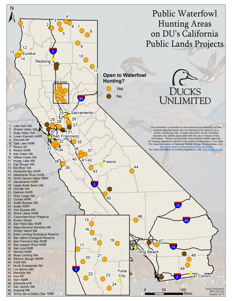 Public Waterfowl Hunting Areas On Du Public Lands Projects - California Hunting Map