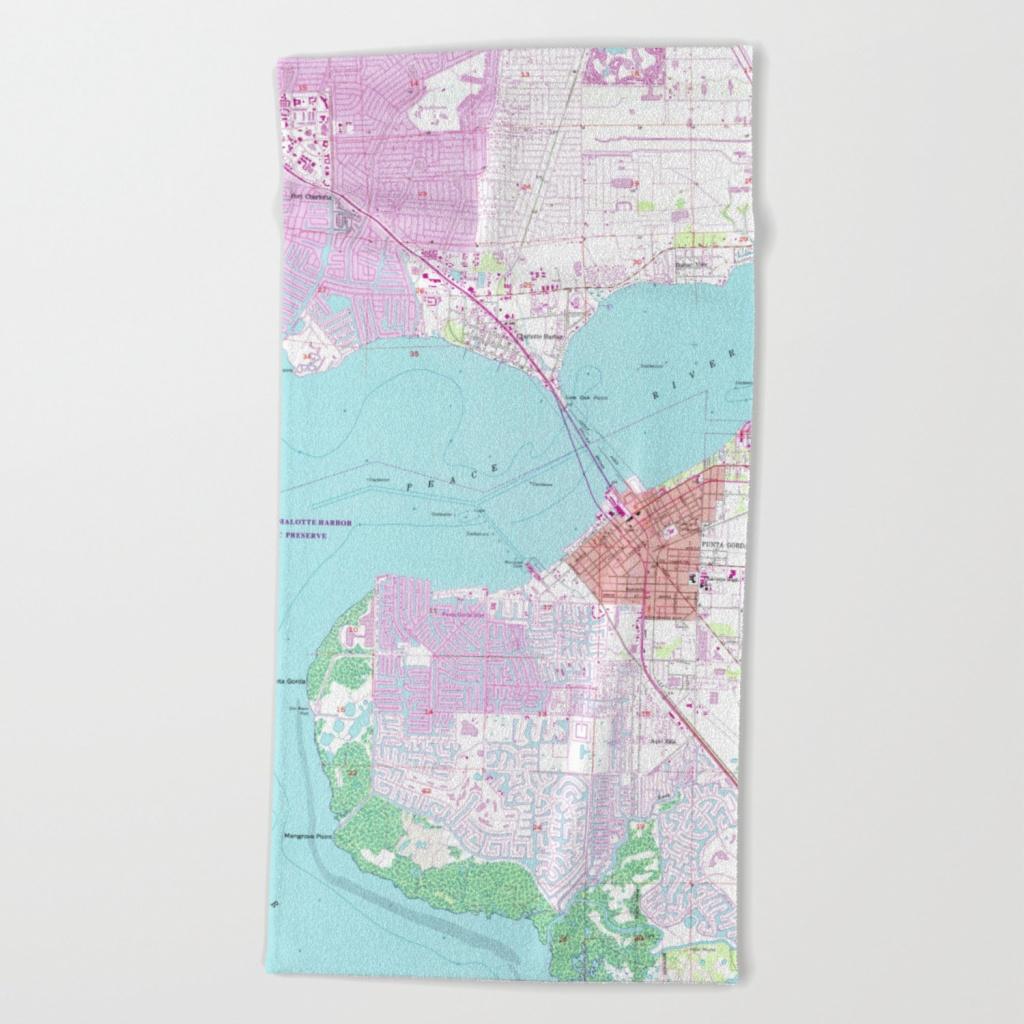 Punta Gorda & Port Charlotte Florida Map (1957) Beach Towel - Punta Gorda Florida Map