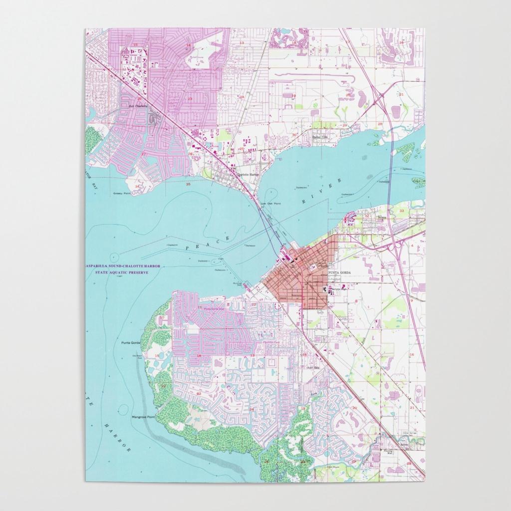 Punta Gorda & Port Charlotte Florida Map (1957) Poster - Punta Gorda Florida Map