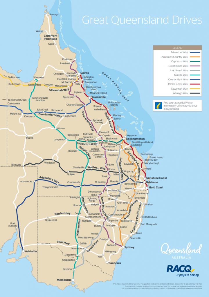 Queensland Drive Maps | Outback Queensland - Queensland Road Maps Printable