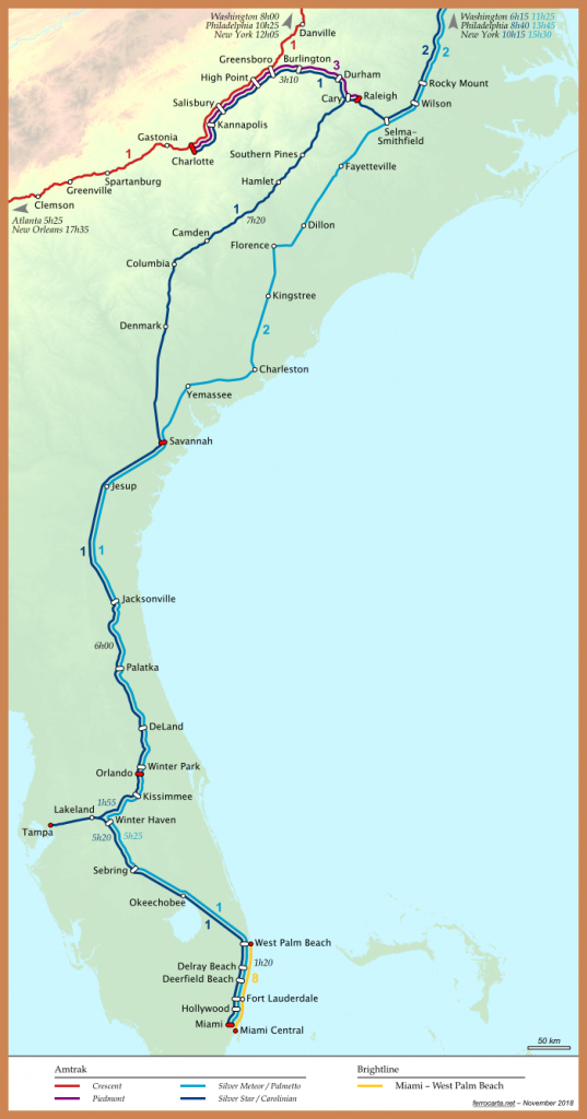 Railway Maps Of The United States | Carolinas And Florida - Florida Brightline Map