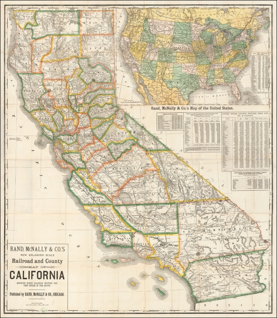 Rand, Mcnally & Co.'s New Enlarged Scale Railroad And County Map Of - Rand Mcnally California Map