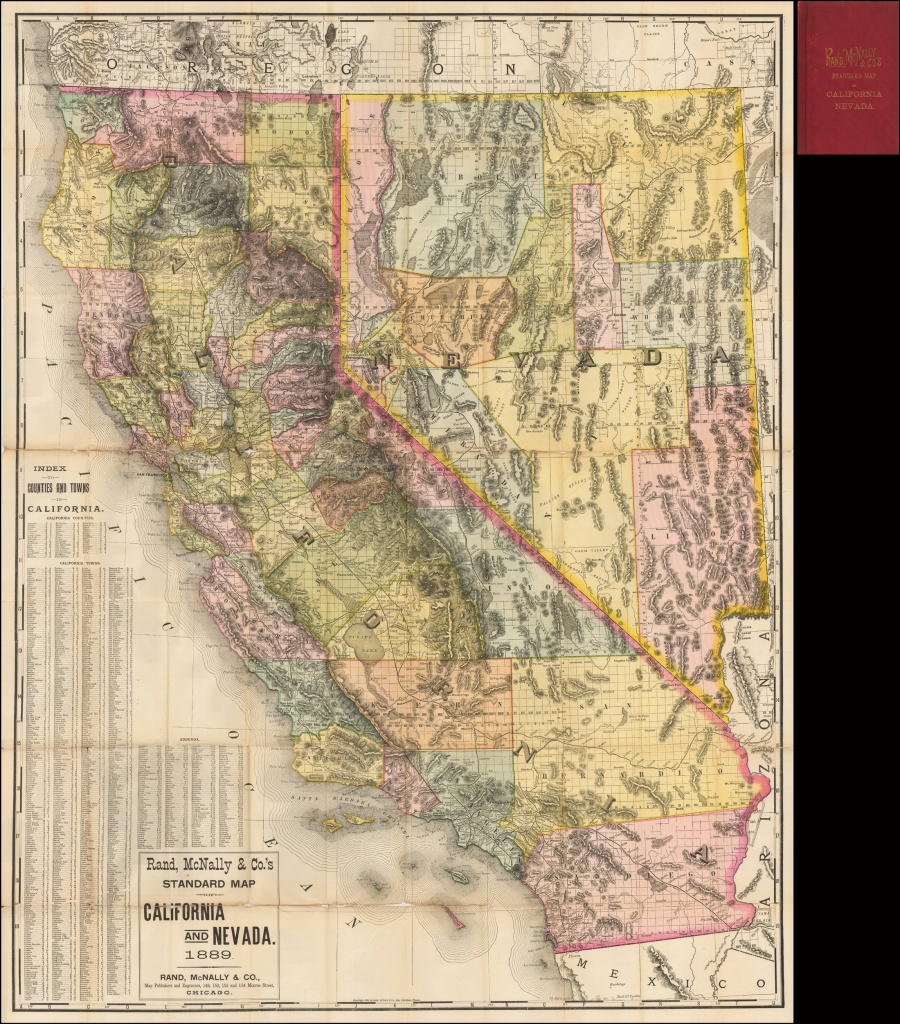 Rand, Mcnally & Co.'s Standard Map Of California And Nevada 1889 - Road Map Of California And Nevada