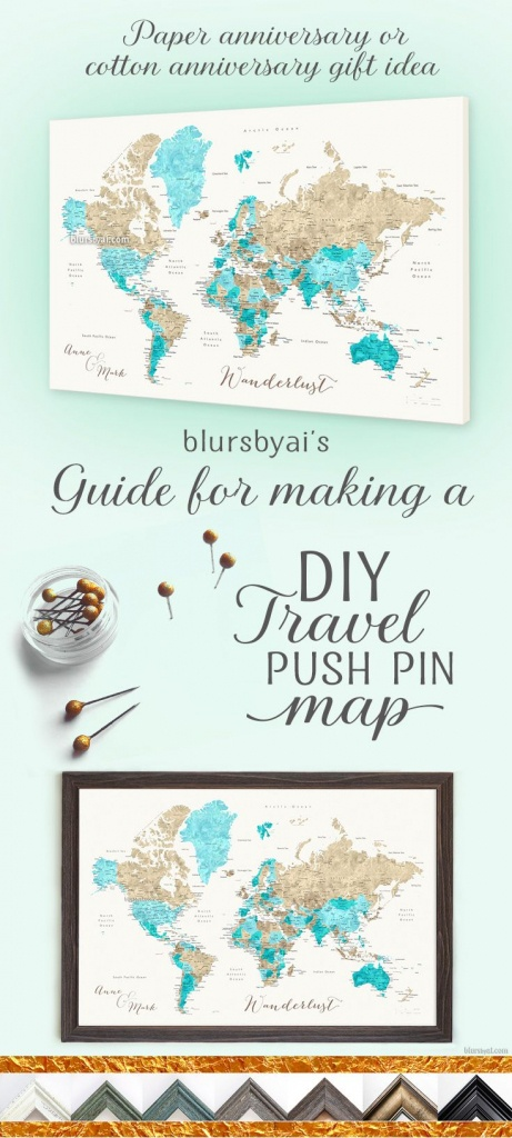 Really Nice Canvas Push Pin Map. Printables With Links And Coupon - Printable Map With Pins