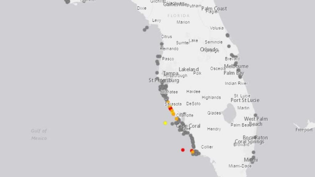 Red Tide Present On Sarasota County Beaches - Show Sarasota Florida On A Map