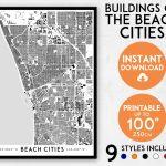 Redondo Beach Map Hermosa Beach Map Manhattan Beach Map   Etsy   Hermosa Beach California Map