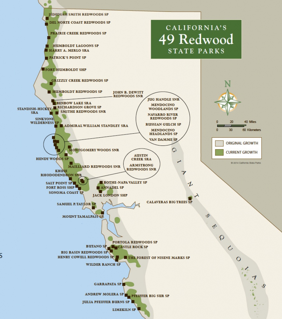 Redwood Parks Day Passes 'sold Out' (2015) | Save The Redwoods League - Giant Redwoods California Map