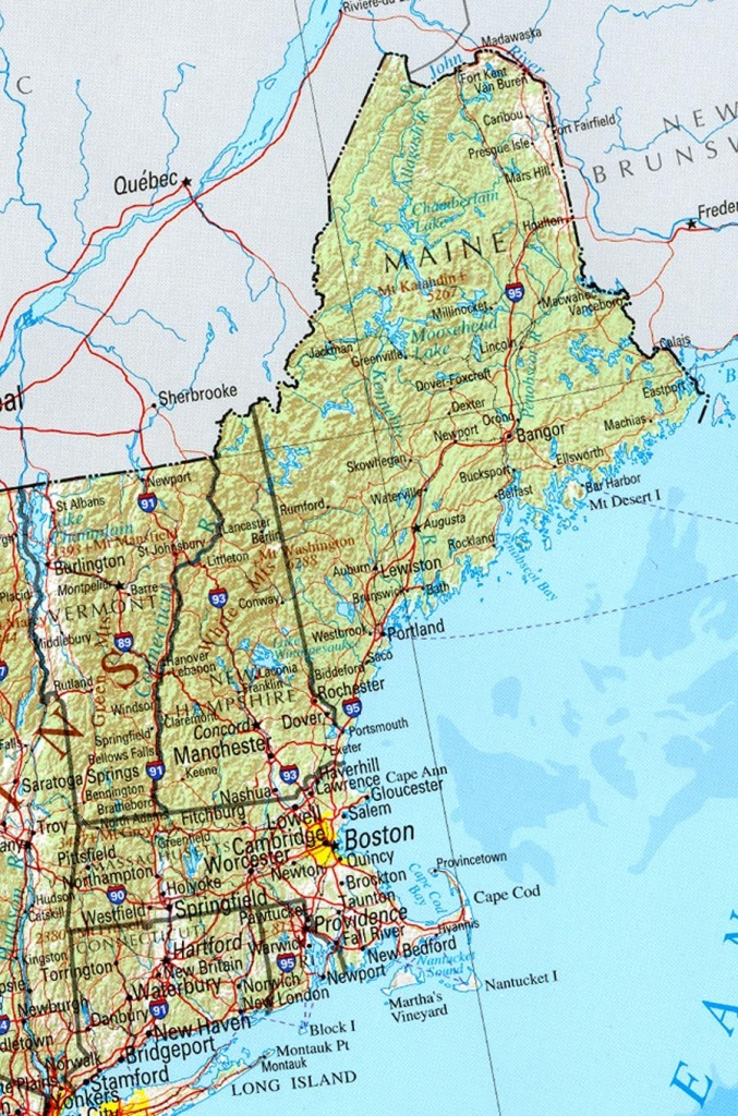 Reference Map Of New England State, Ma Physical Map | Crafts - Printable Map Of New England