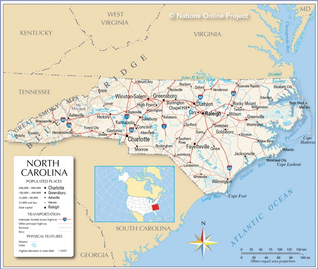 Reference Maps Of North Carolina, Usa - Nations Online Project - Printable Map Of North Carolina Cities